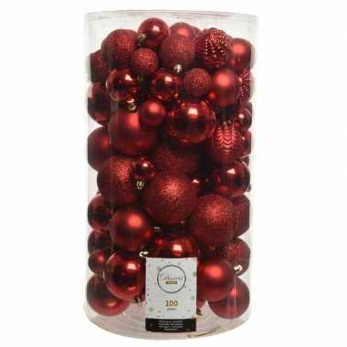 100x rode kerstballen 4-5-6-7-8 cm glanzende/glitter kunststof/plastic kerstversiering