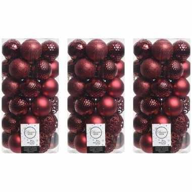 111x donkerrode kerstballen 6 cm glanzende/matte/glitter kunststof/plastic kerstversiering
