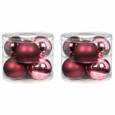 12x berry kiss mix roze/rode glazen kerstballen 10 cm glans en mat