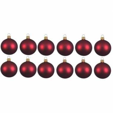 12x donkerrode kerstballen 10 cm matte glas kerstversiering