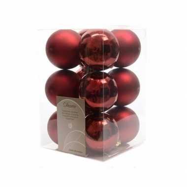 12x donkerrode kerstballen 6 cm glanzende/matte kunststof/plastic ker
