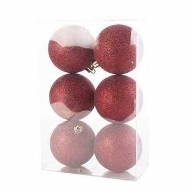 12x donkerrode kerstballen 8 cm glitter kunststof/plastic kerstversiering