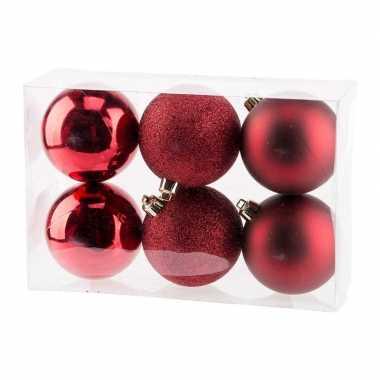 12x donkerrode kerstballen 8 cm kunststof mat/glans/glitter