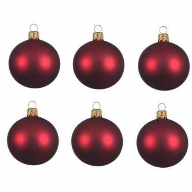 12x donkerrode kerstballen 8 cm matte glas kerstversiering
