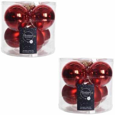 12x kerst rode glazen kerstballen 8 cm glans en mat