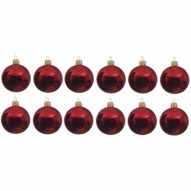 12x kerst rode kerstballen 10 cm glanzende glas kerstversiering