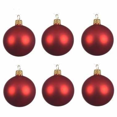 12x kerst rode kerstballen 8 cm matte glas kerstversiering