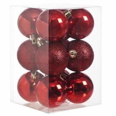 12x rode kerstballen 6 cm glanzende/matte kunststof/plastic kerstversiering