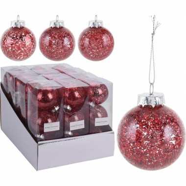 12x rode kerstballen 8 cm glitter kunststof kerstversiering