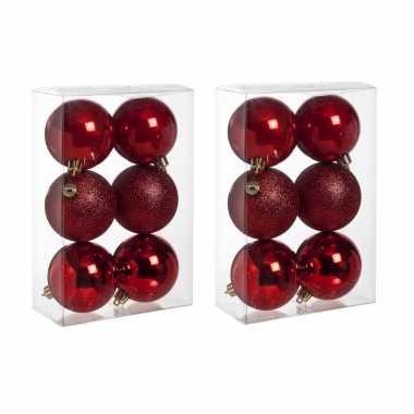 12x rode kerstballen 8 cm kunststof mat/glans/glitter