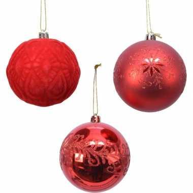 12x rode luxe kunststof kerstballen 8 cm kerstversiering