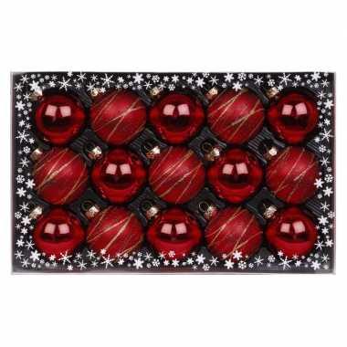 15x rode luxe glazen kerstballen met decoratie 6 cm