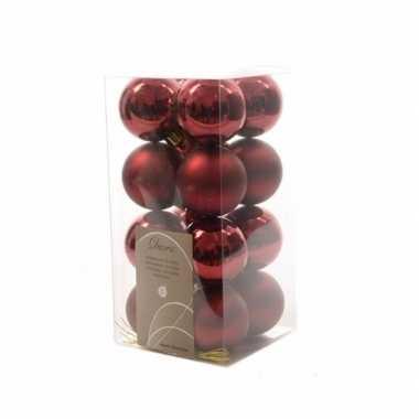 16x donkerrode kerstballen 4 cm glanzende/matte kunststof/plastic ker