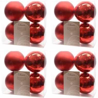 16x kerst rode kerstballen 10 cm glanzende/matte kunststof/plastic kerstversiering