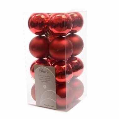 16x kerst rode kerstballen 4 cm glanzende/matte kunststof/plastic ker