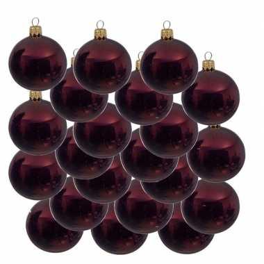 18x donkerrode kerstballen 8 cm glanzende glas kerstversiering