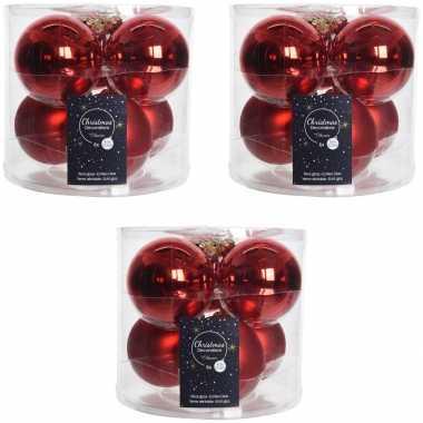 18x kerst rode glazen kerstballen 8 cm glans en mat