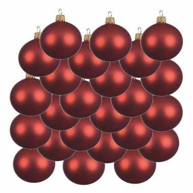 18x kerst rode kerstballen 6 cm matte glas kerstversiering