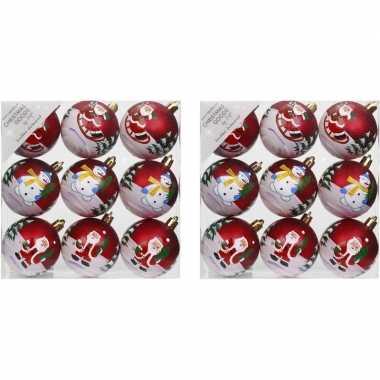 18x kerstballen rood met print 6 cm voor kinderen