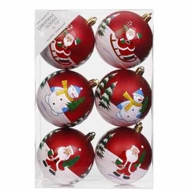 18x kerstballen rood met print 8 cm voor kinderen