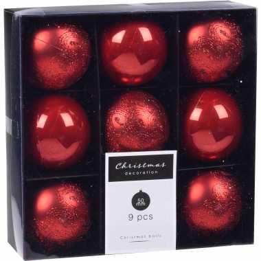 18x kerstboomversiering luxe kunststof kerstballen rood 5 cm