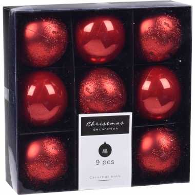 18x kerstboomversiering luxe kunststof kerstballen rood 6 cm