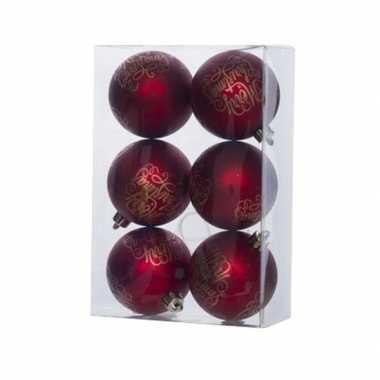 18x rode kerstballen 6 cm tekst kunststof/plastic kerstversiering