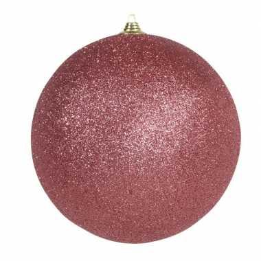 1x grote koraal rode kerstballen met glitter kunststof 13,5 cm