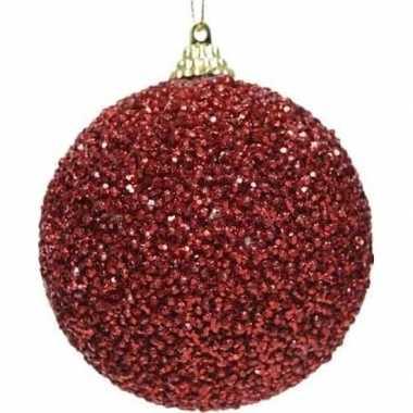 1x kerst rode kerstballen 8 cm glitters/kraaltjes kunststof kerstvers