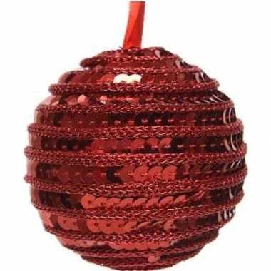1x kerst rode kerstballen 8 cm pailletten foam/kunststof/plastic kers