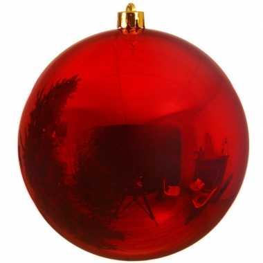 1x mega kerst rode kerstballen van 25 cm glans kunststof