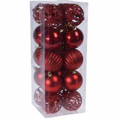 20x rode kerstballen 6 cm glanzende/matte/glitters kunststof kerstver