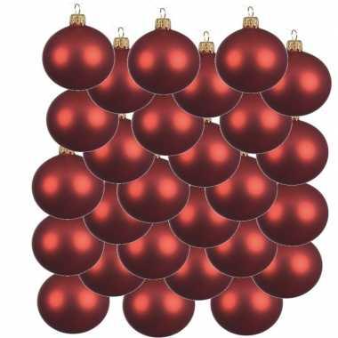 24x kerst rode kerstballen 8 cm matte glas kerstversiering