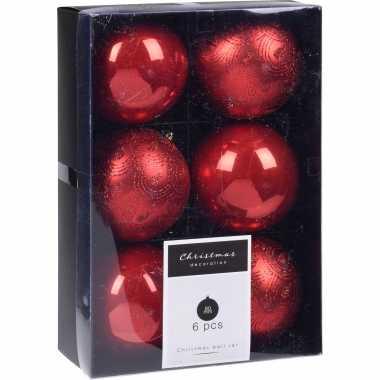 24x kerstboomversiering luxe kunststof kerstballen rood 8 cm