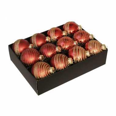 24x luxe glazen gedecoreerde rode kerstballen met streep 7,5 cm