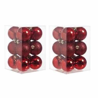24x rode kerstballen 6 cm glanzende/matte kunststof/plastic kerstversiering