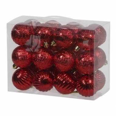 24x rode kerstballen 6 cm kunststof/plastic kerstversiering
