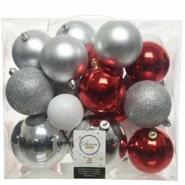 26 stuks kunststof kerstballen mix zilver-rood-wit 6, 8, 10 cm