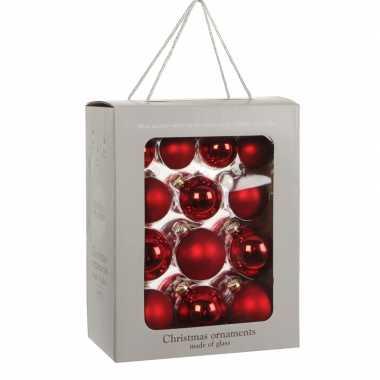 26x kerst rode kerstballen 7 cm glanzende/matte glas kerstversiering