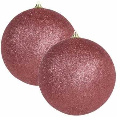 2x grote koraal rode kerstballen met glitter kunststof 18 cm