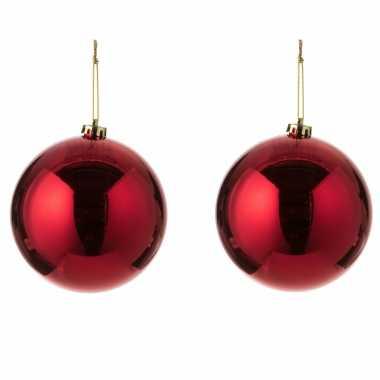 2x grote kunststof kerstballen rood 15 cm