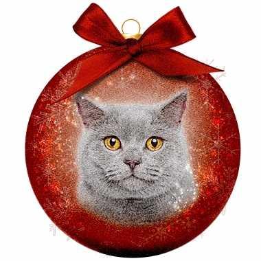 2x kunststof rode dieren kerstballen met grijze kat/poes 8 cm
