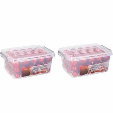2x stuks kerstballen/kerstversiering opbergboxen met 140x rode kerstballen