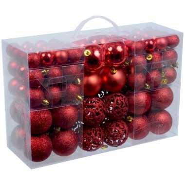 2x stuks pakket met 100x rode kerstballen kunststof 3, 4 en 6 cm