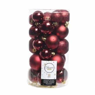 30x donkerrode kerstballen 4-5-6 cm glanzende/matte/glitter kunststof