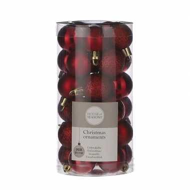 30x kleine kunststof kerstballen rood 3 cm