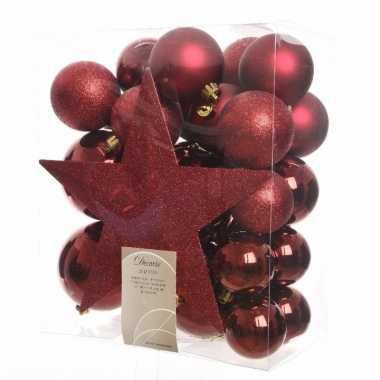 33x donkerrode kerstballen 5-6-8 cm glanzende/matte/glitter kunststof