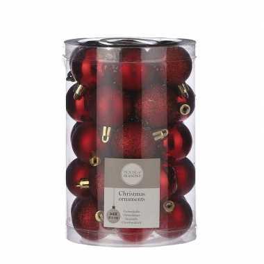 34x kunststof kerstballen rood 4 cm