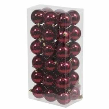 36x bordeaux rode kerstballen 6 cm glanzende kunststof/plastic kerstv