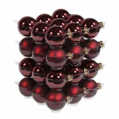 36x bordeaux rode kerstballen mat/glans 6 cm glas kerstversiering